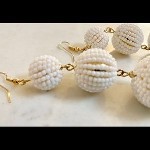 Pearlized Beaded 3-Ball Dangle Earrings
